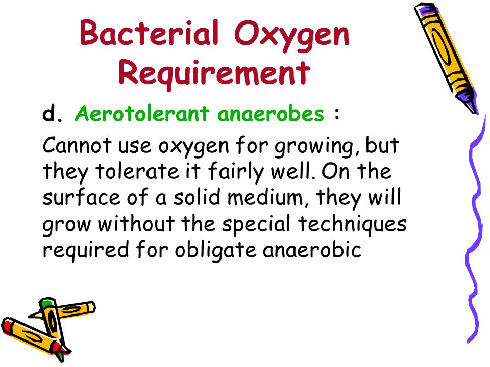 Bacterial Oxygen Requirement For example Escherichia coli