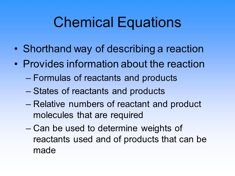 Conservation of Mass Matter cannot be created or destroyed In a chemical reaction, all the atoms present at the beginning are still present at the end Therefore the total mass cannot change Therefore the total mass of the reactants will be the same as the total mass of the products