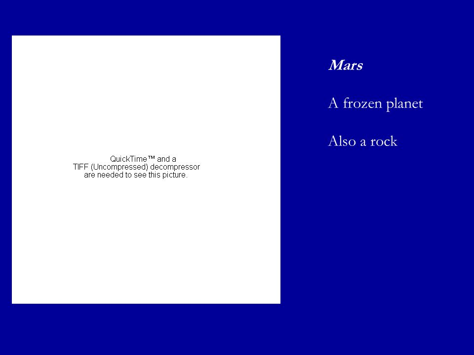 Mars A frozen planet