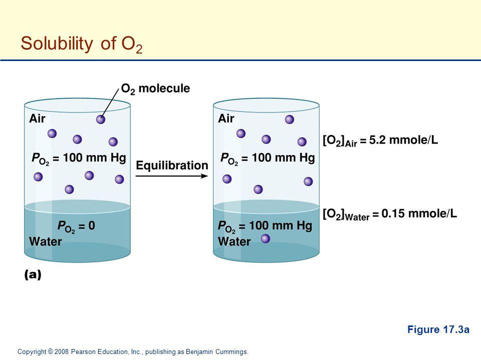 Copyright © 2008 Pearson Education, Inc., publishing as Benjamin Cummings. Solubility of O 2 Figure 17.3a