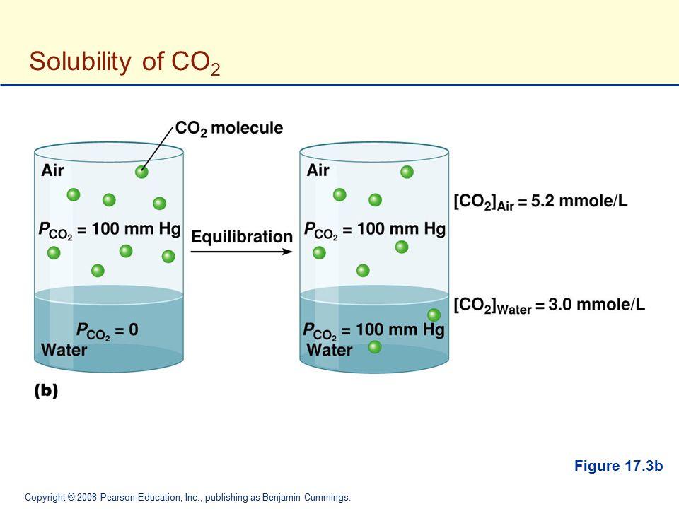 Copyright © 2008 Pearson Education, Inc., publishing as Benjamin Cummings. Solubility of CO 2 Figure 17.3b