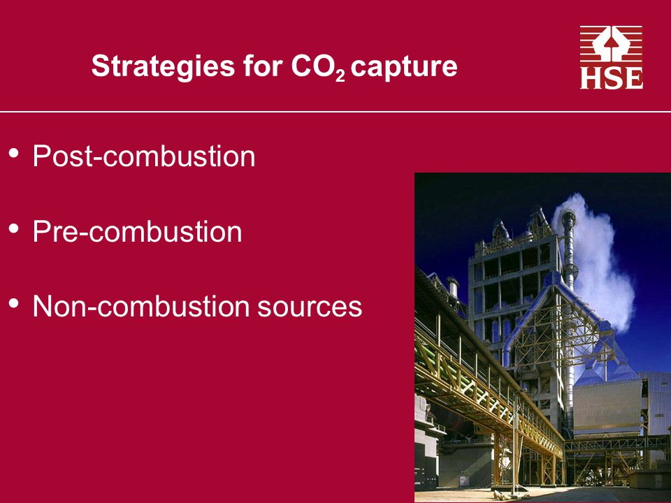 Strategies for CO 2 capture Post-combustion Pre-combustion Non-combustion sources