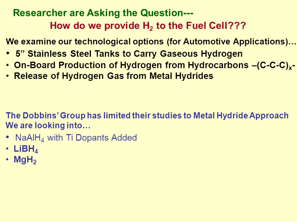 Researcher are Asking the Question--- How do we provide H 2 to the Fuel Cell .