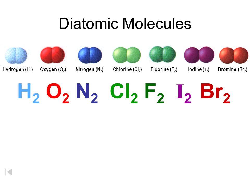 Diatomic Molecules H 2 O 2 N 2 Cl 2 F 2 I 2 Br 2 Hydrogen (H 2 )Fluorine (F 2 )Oxygen (O 2 )Nitrogen (N 2 )Chlorine (Cl 2 )Bromine (Br 2 ) Iodine ( I