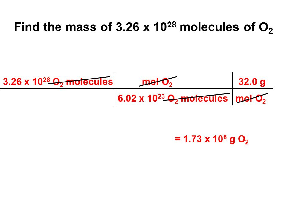 Find the mass of 3.26 x 10 28 molecules of O 2 3.26 x 10 28 O 2 molecules mol O 2 32.0 g 6.02 x 10 23 O 2 molecules mol O 2 = 1.73 x 10 6 g O 2