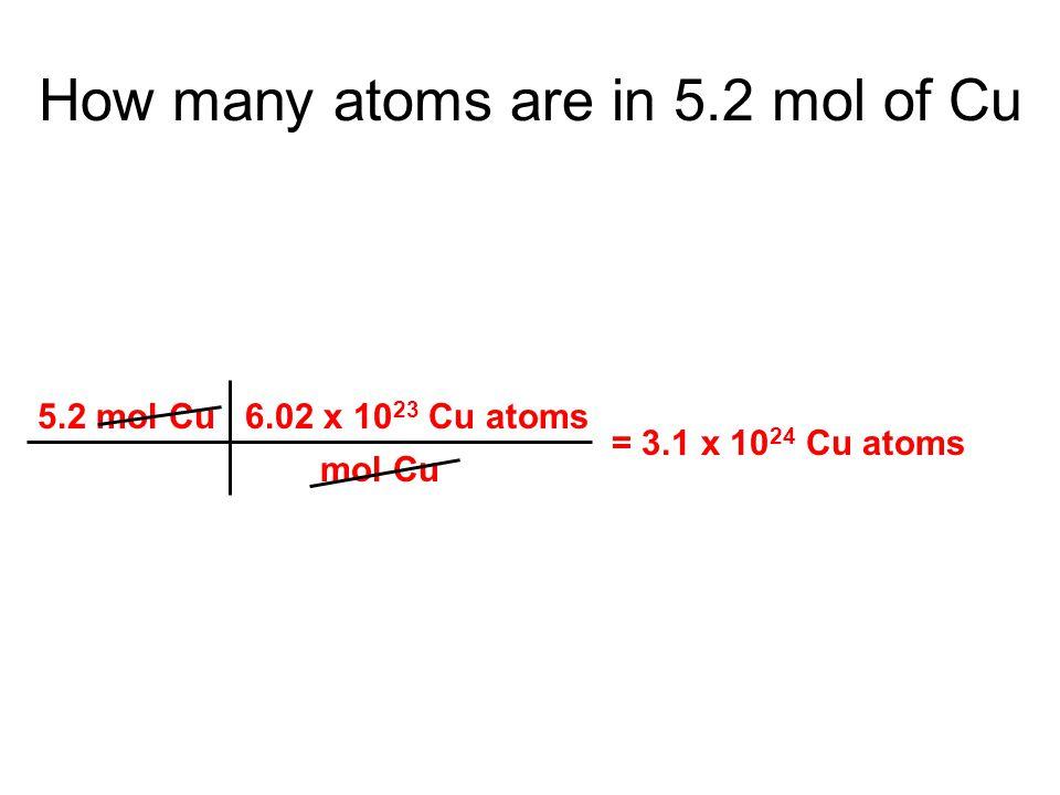 5.2 mol Cu 6.02 x 10 23 Cu atoms mol Cu = 3.1 x 10 24 Cu atoms