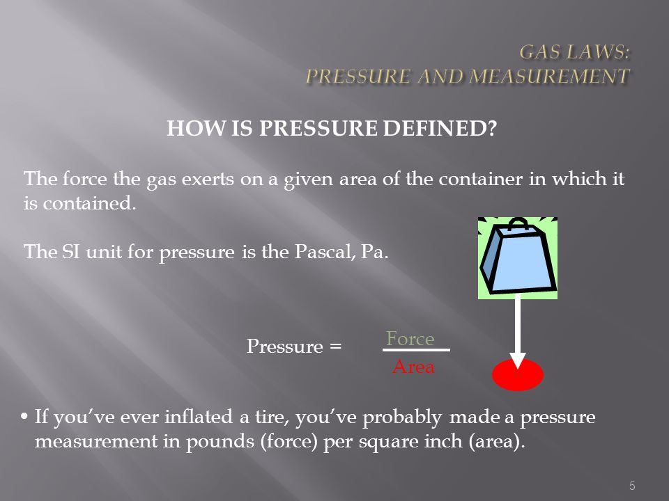 16 For a given amount of gas at constant pressure V a T T (K) = t ( 0 C) + 273.15 Charles' Law Temperature must be in Kelvin V / T = constant Variation of gas volume with temperature