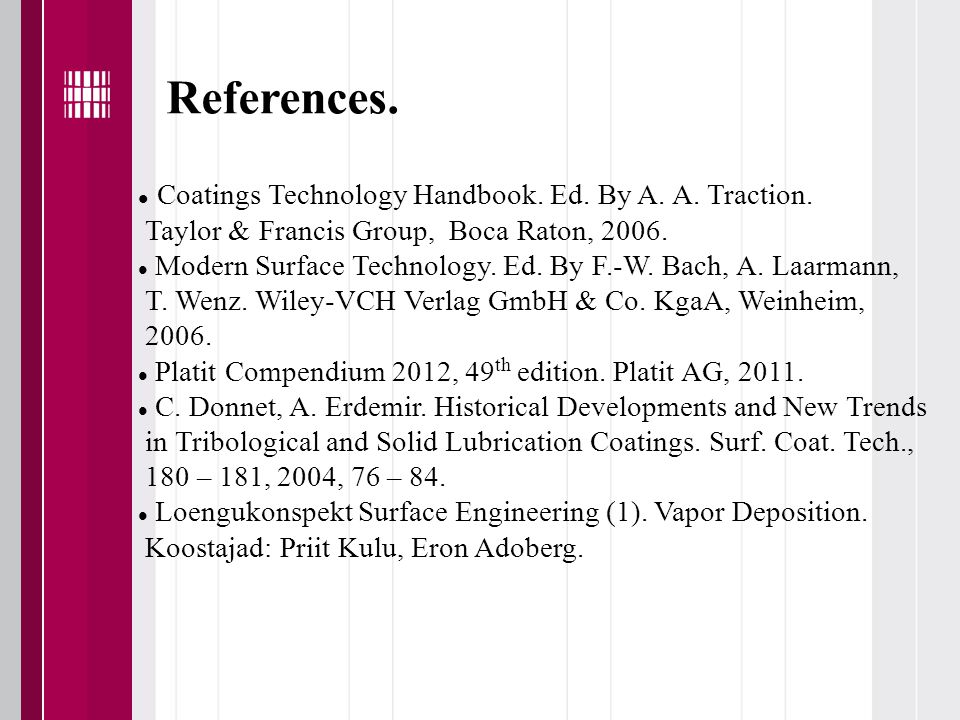 References. Coatings Technology Handbook. Ed. By A.