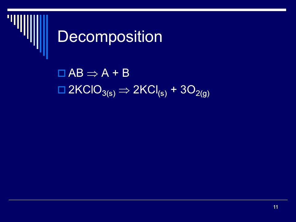 11 Decomposition  AB  A + B  2KClO 3(s)  2KCl (s) + 3O 2(g)