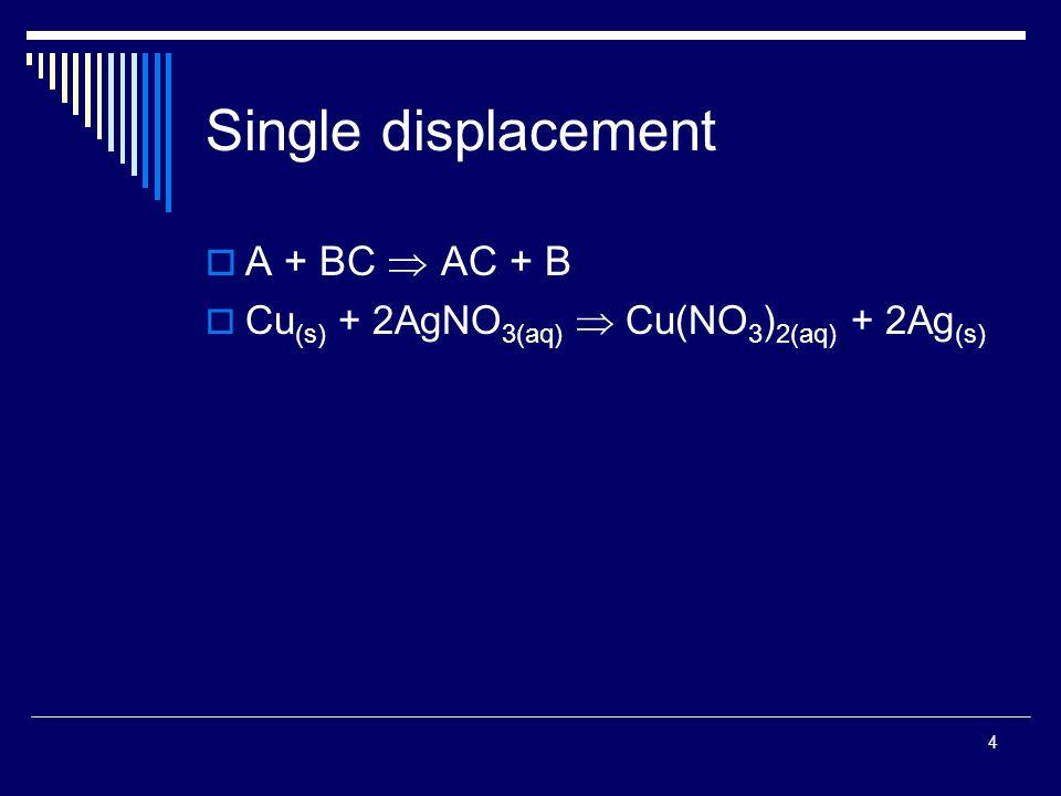 4 Single displacement  A + BC  AC + B  Cu (s) + 2AgNO 3(aq)  Cu(NO 3 ) 2(aq) + 2Ag (s)