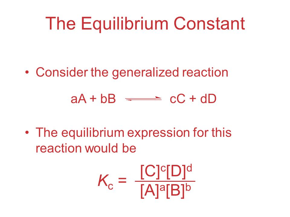 The Equilibrium Constant Consider the generalized reaction The equilibrium expression for this reaction would be K c = [C] c [D] d [A] a [B] b aA + bBcC + dD