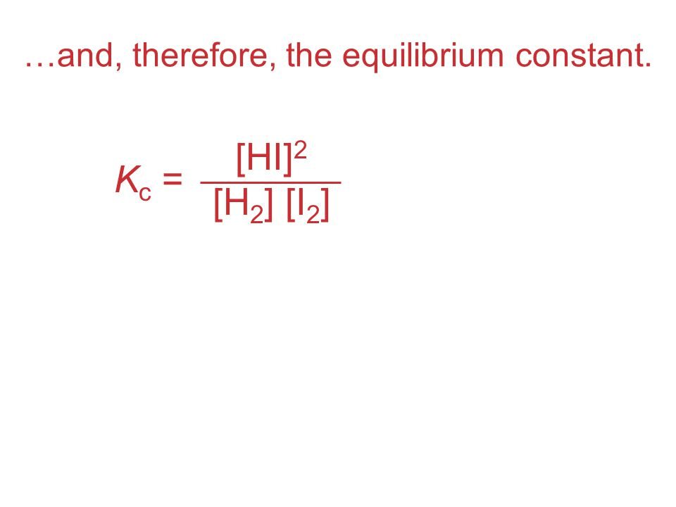 …and, therefore, the equilibrium constant.