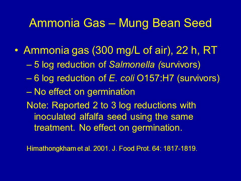 Ammonia Gas – Mung Bean Seed Ammonia gas (300 mg/L of air), 22 h, RT –5 log reduction of Salmonella (survivors) –6 log reduction of E.
