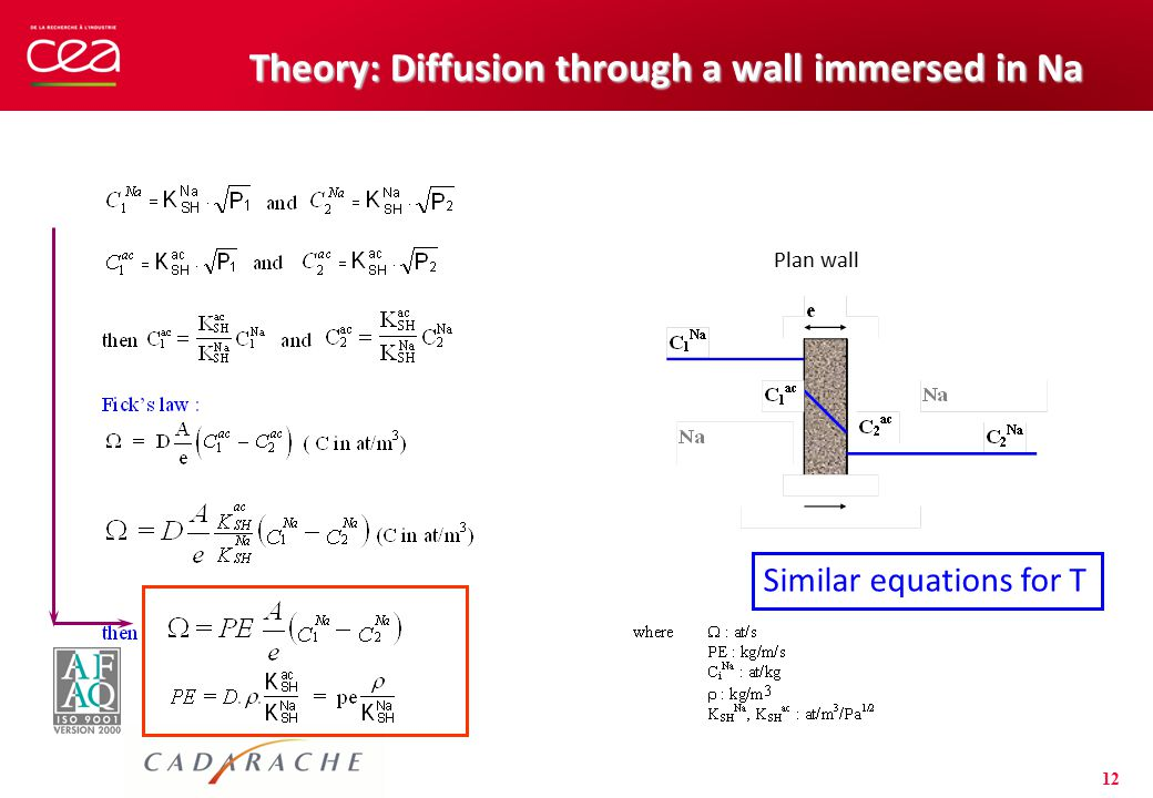 12 Theory: Diffusion through a wall immersed in Na Plan wall Similar equations for T