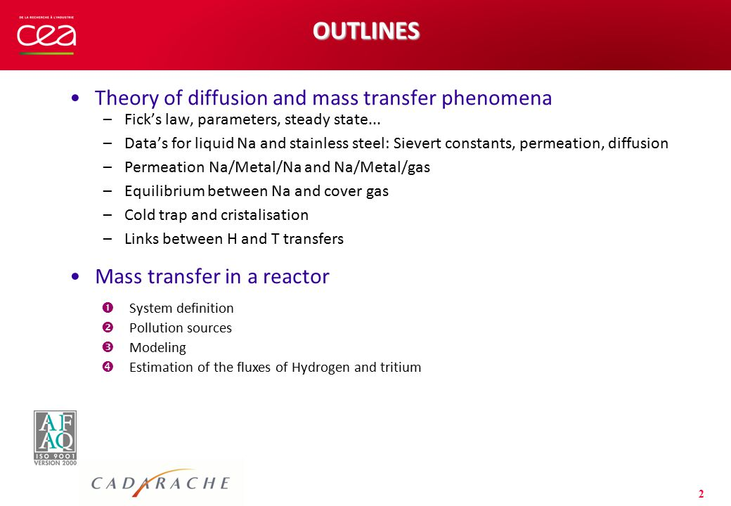 2 OUTLINES Theory of diffusion and mass transfer phenomena –Fick's law, parameters, steady state... –Data's for liquid Na and stainless steel: Sievert