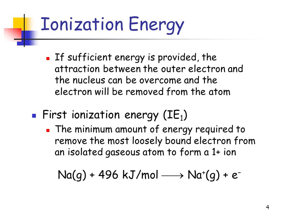 4 Ionization Energy If sufficient energy is provided, the attraction between the outer electron and the nucleus can be overcome and the electron will be removed from the atom First ionization energy (IE 1 ) The minimum amount of energy required to remove the most loosely bound electron from an isolated gaseous atom to form a 1+ ion Na(g) + 496 kJ/mol  Na + (g) + e –