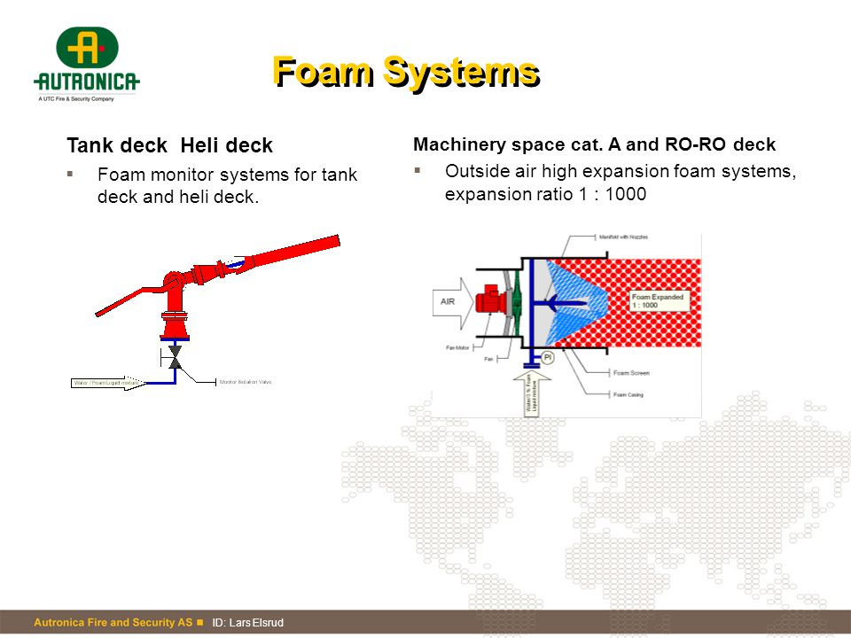 ID: Lars Elsrud Foam Systems Tank deck Heli deck  Foam monitor systems for tank deck and heli deck. Machinery space cat. A and RO-RO deck  Outside a