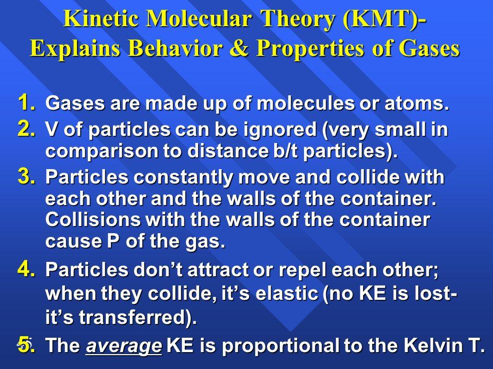 45 Kinetic Molecular Theory (KMT)- Explains Behavior & Properties of Gases 1.
