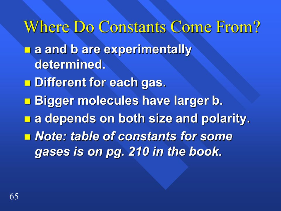 65 Where Do Constants Come From? n a and b are experimentally determined. n Different for each gas. n Bigger molecules have larger b. n a depends on b