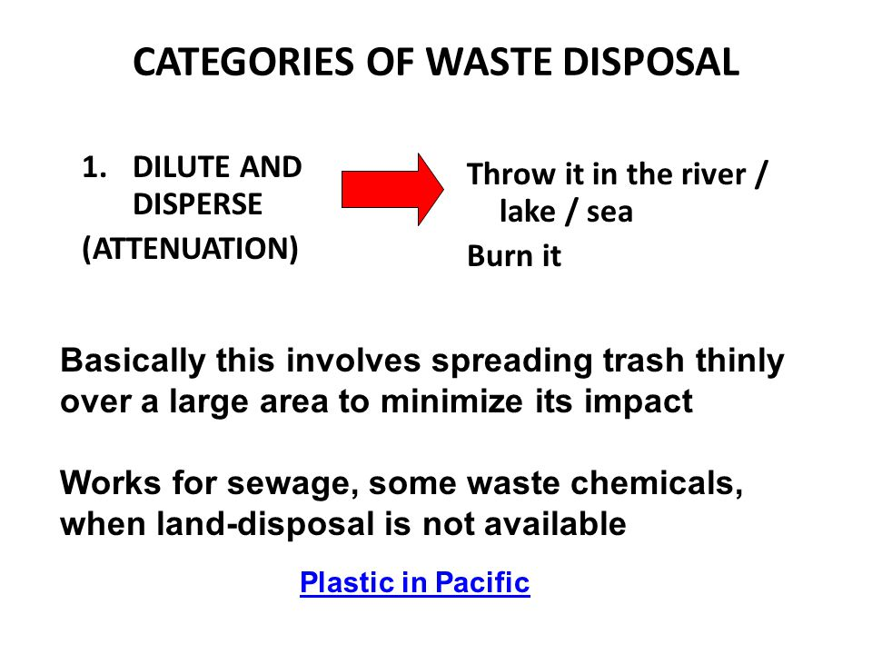 CATEGORIES OF WASTE DISPOSAL 1.DILUTE AND DISPERSE (ATTENUATION) Throw it in the river / lake / sea Burn it Basically this involves spreading trash th