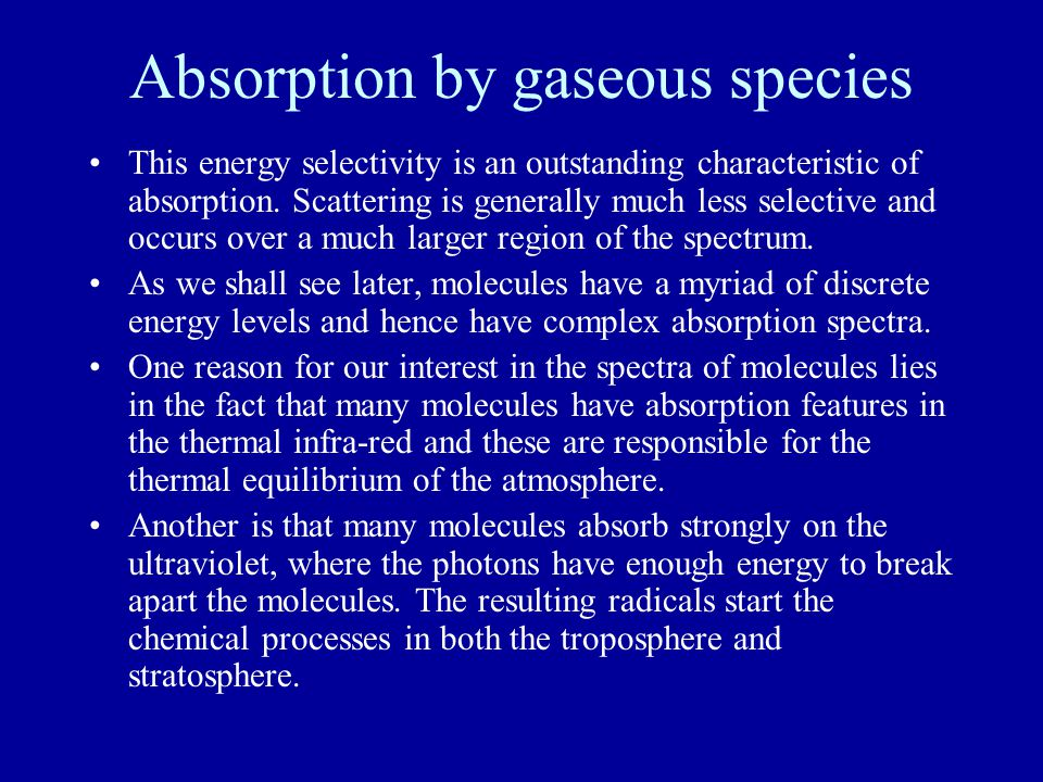 Absorption by gaseous species This energy selectivity is an outstanding characteristic of absorption.