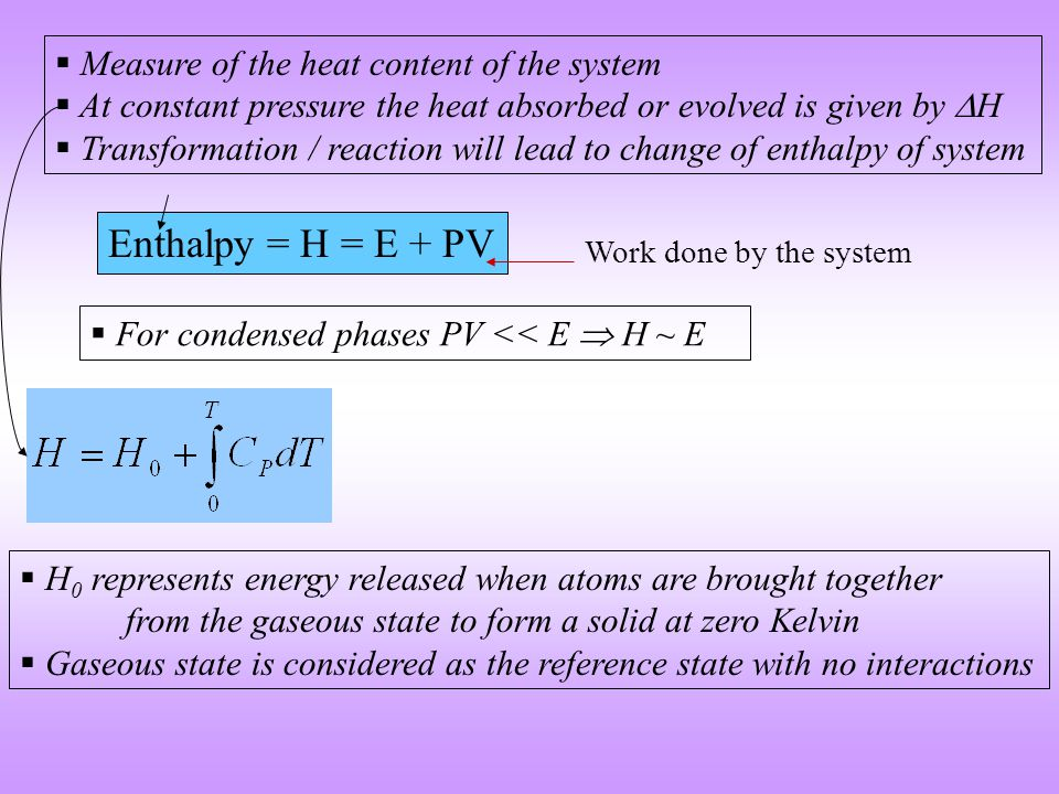 Gibbs Free Energy = G = H  TS Absolute Temperature Entropy For a transformation that occurs at constant temperature and pressure the relative stability of the system is determined by its GIBBS FREE ENERGY Entropy is a measure of the randomness of a solid  G =  H  T  S Even endothermic reactions are allowed if offset by T  S