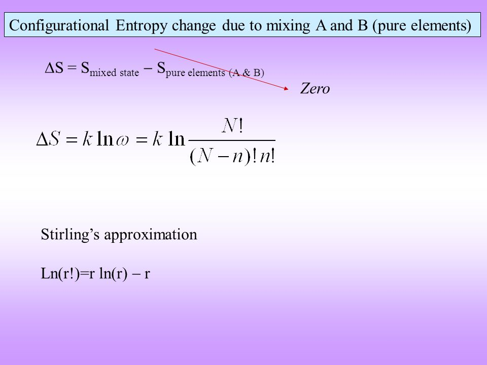 Possible configurations of in an 1D system of 4 sites and two different species  Due to the statistical nature of the configurational entropy the equation is valid for a large number of species