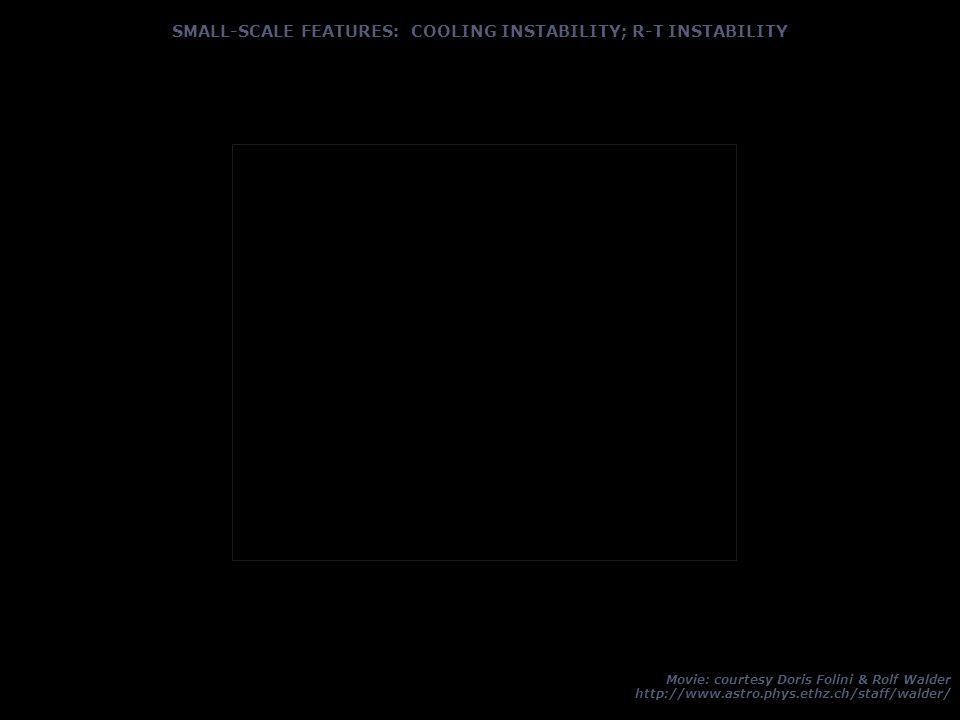 SMALL-SCALE FEATURES: COOLING INSTABILITY; R-T INSTABILITY Movie: courtesy Doris Folini & Rolf Walder http://www.astro.phys.ethz.ch/staff/walder/