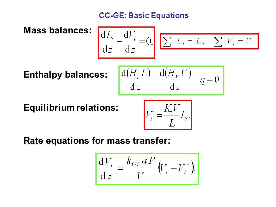 Mass balances: Enthalpy balances: Equilibrium relations: Rate equations for mass transfer: CC-GE: Basic Equations