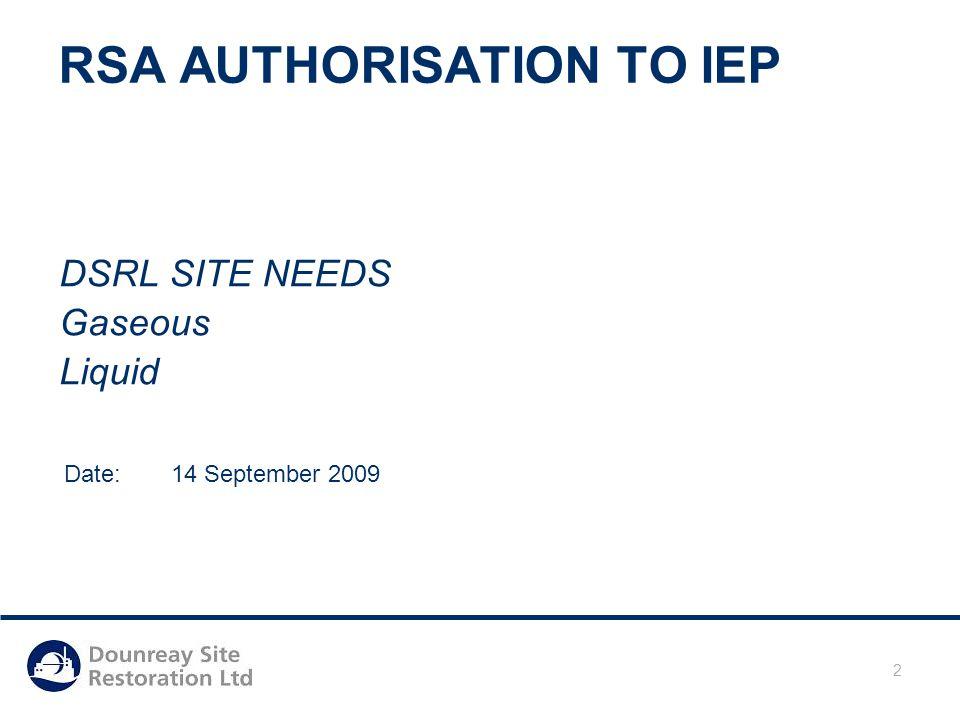 Date: 05/05/2015 2 RSA AUTHORISATION TO IEP DSRL SITE NEEDS Gaseous Liquid Date: 14 September 2009