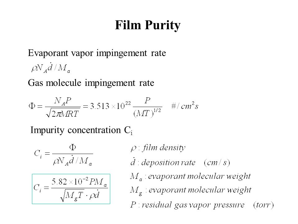 Evaporant vapor impingement rate Gas molecule impingement rate Impurity concentration C i Film Purity