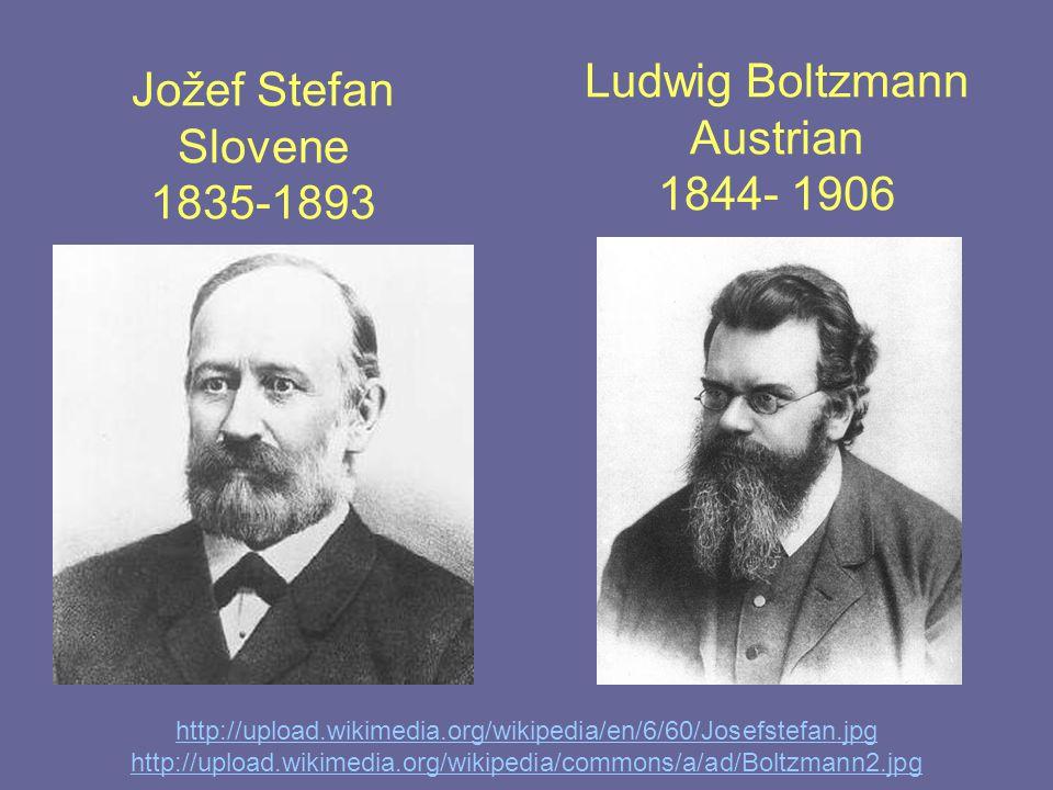 Jožef Stefan Slovene 1835-1893 http://upload.wikimedia.org/wikipedia/en/6/60/Josefstefan.jpg http://upload.wikimedia.org/wikipedia/commons/a/ad/Boltzmann2.jpg Ludwig Boltzmann Austrian 1844- 1906