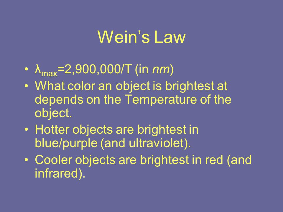 Wein's Law λ max =2,900,000/T (in nm) What color an object is brightest at depends on the Temperature of the object.
