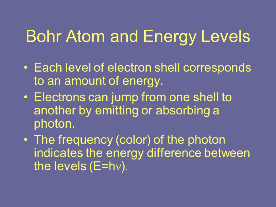 Bohr Atom and Energy Levels Each level of electron shell corresponds to an amount of energy.