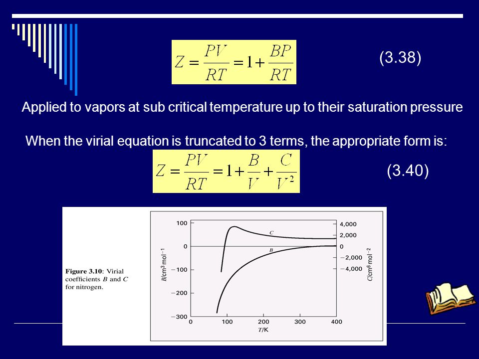 (3.38) Applied to vapors at sub critical temperature up to their saturation pressure When the virial equation is truncated to 3 terms, the appropriate