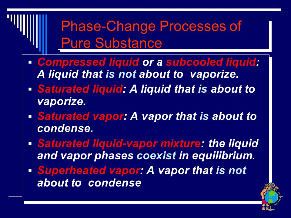 Phase-Change Processes of Pure Substance  Compressed liquid or a subcooled liquid: A liquid that is not about to vaporize.  Saturated liquid: A liqu