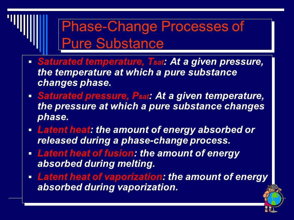 Phase-Change Processes of Pure Substance  Saturated temperature, T sat : At a given pressure, the temperature at which a pure substance changes phase