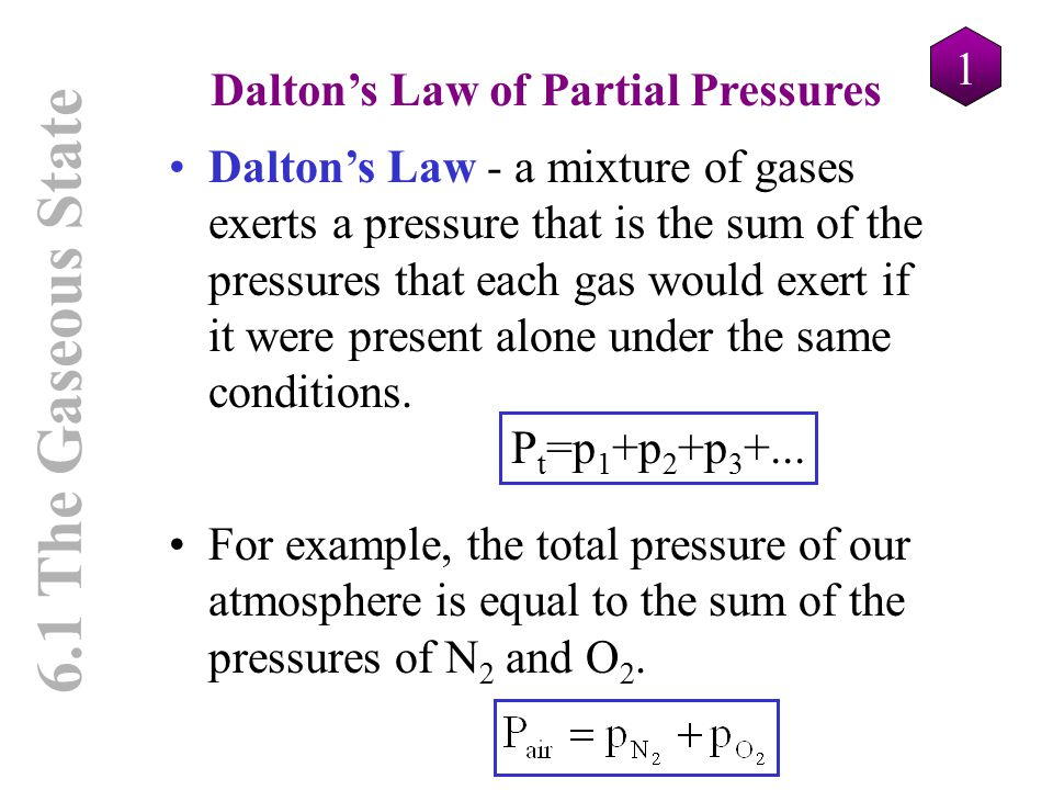 6.1 The Gaseous State Dalton's Law of Partial Pressures 1 Dalton's Law - a mixture of gases exerts a pressure that is the sum of the pressures that ea