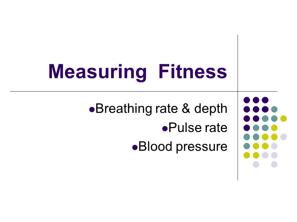 Measuring Fitness Breathing rate & depth Pulse rate Blood pressure