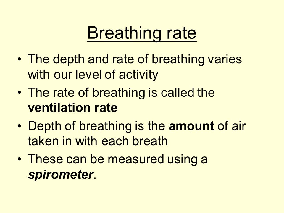 Breathing rate The depth and rate of breathing varies with our level of activity The rate of breathing is called the ventilation rate Depth of breathi