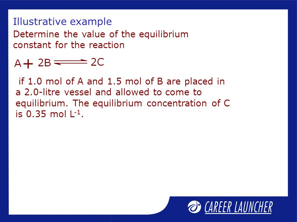 Illustrative example Determine the value of the equilibrium constant for the reaction if 1.0 mol of A and 1.5 mol of B are placed in a 2.0-litre vessel and allowed to come to equilibrium.
