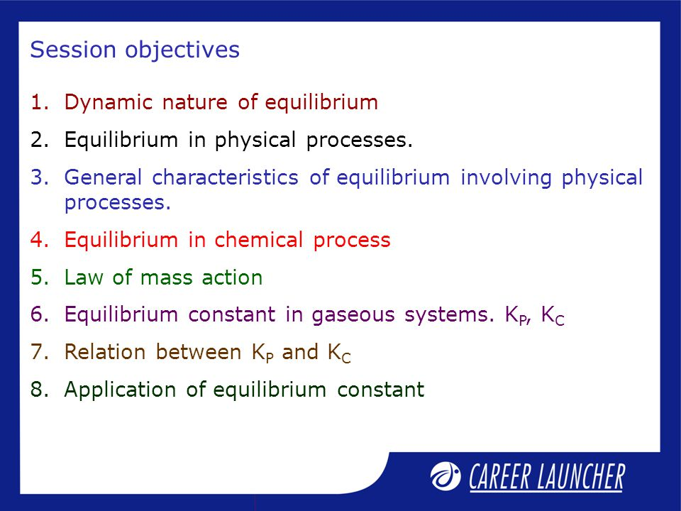 Dynamic equilibrium At equilibrium, the reaction does not stop.