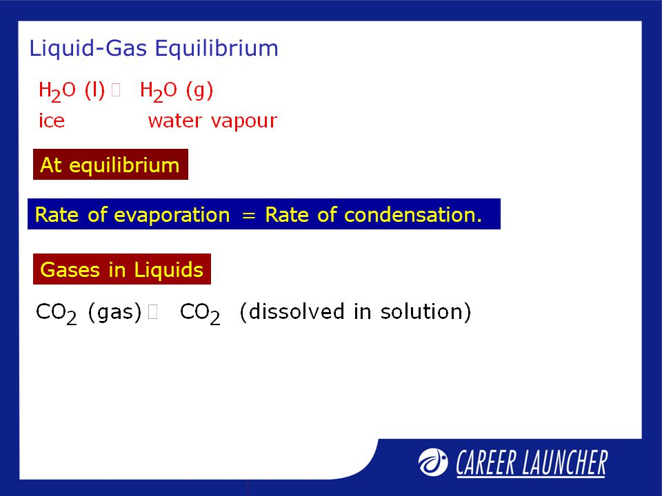 Liquid-Gas Equilibrium Rate of evaporation = Rate of condensation. Gases in Liquids At equilibrium