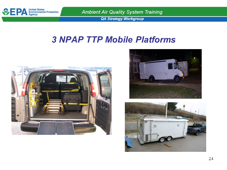 QA Strategy Workgroup Ambient Air Quality System Training 24 3 NPAP TTP Mobile Platforms