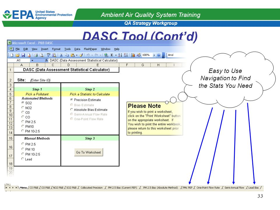 QA Strategy Workgroup Ambient Air Quality System Training 33 DASC Tool (Cont'd) Easy to Use Navigation to Find the Stats You Need