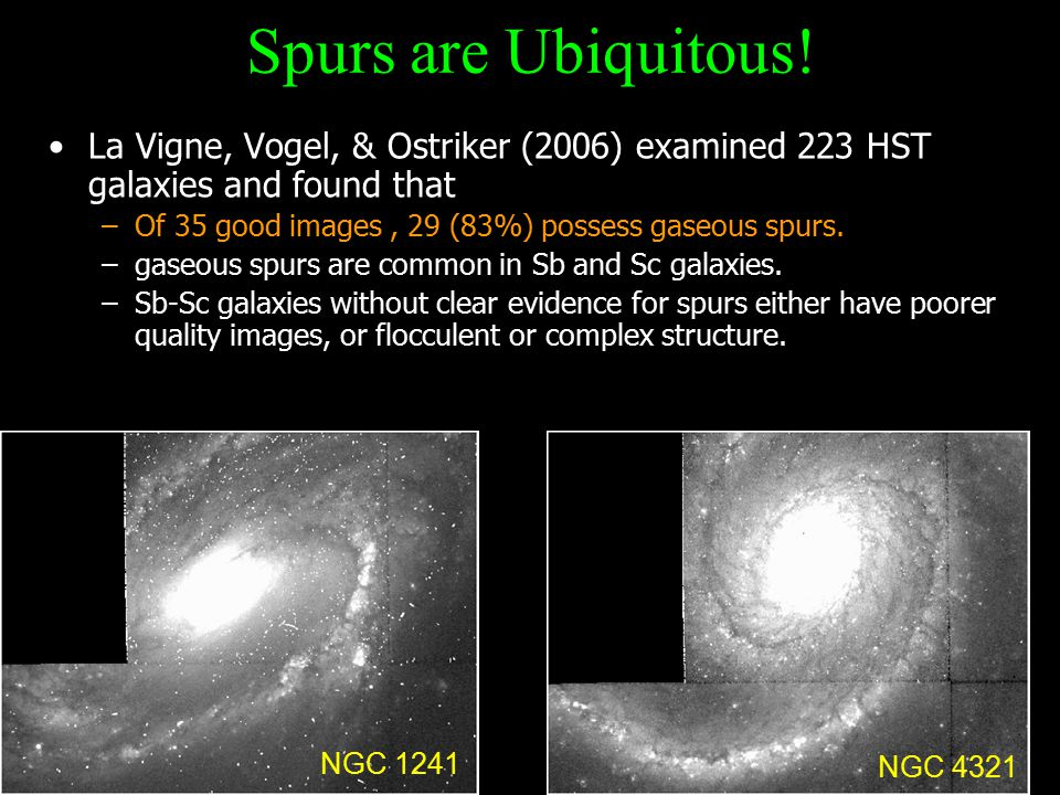 La Vigne, Vogel, & Ostriker (2006) examined 223 HST galaxies and found that –Of 35 good images, 29 (83%) possess gaseous spurs.
