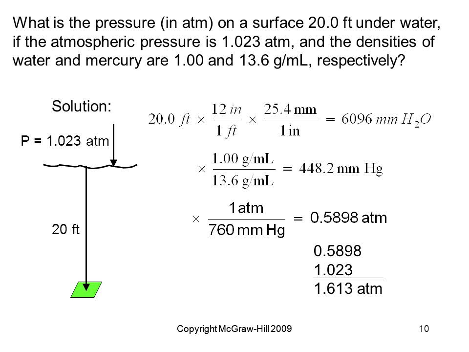 Copyright McGraw-Hill 200910Copyright McGraw-Hill 2009 What is the pressure (in atm) on a surface 20.0 ft under water, if the atmospheric pressure is 1.023 atm, and the densities of water and mercury are 1.00 and 13.6 g/mL, respectively.