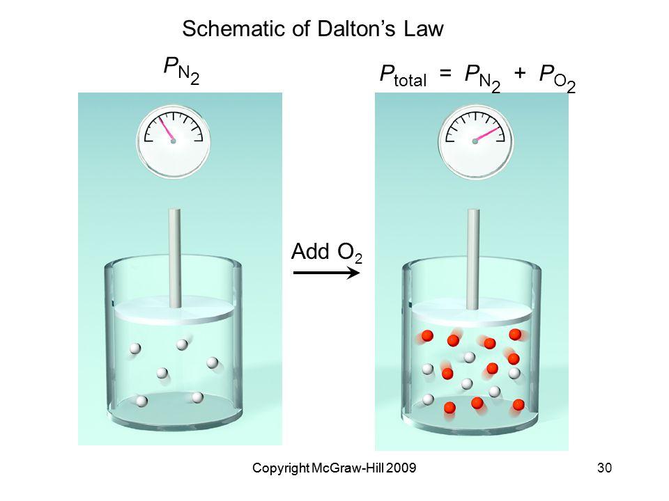 Copyright McGraw-Hill 200930Copyright McGraw-Hill 2009 Schematic of Dalton's Law P total = P N 2 + P O 2 PN2PN2 Add O 2