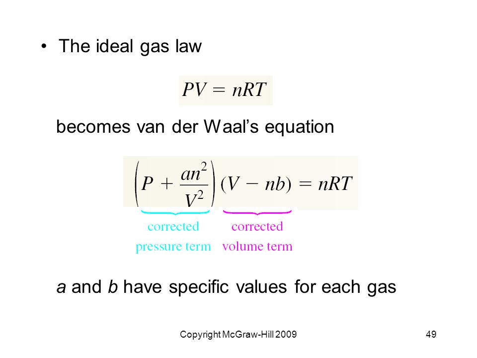 Copyright McGraw-Hill 200949 The ideal gas law becomes van der Waal's equation a and b have specific values for each gas