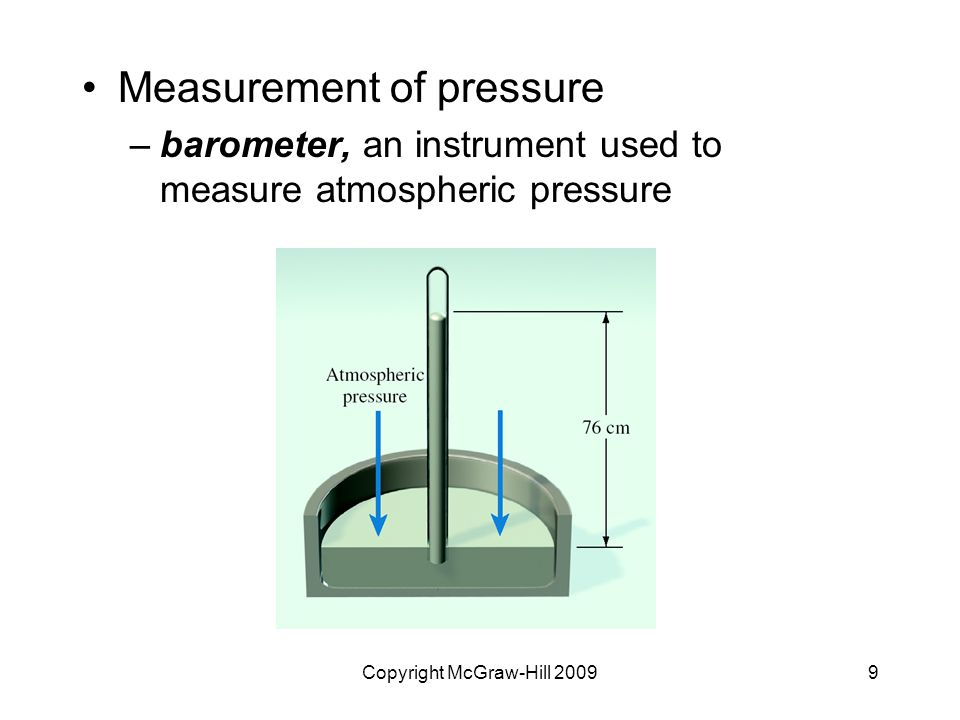 Copyright McGraw-Hill 20099 Measurement of pressure –barometer, an instrument used to measure atmospheric pressure